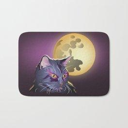 Dark Cat and Full Moon Bath Mat