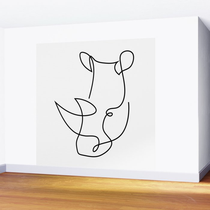 rhino one line - menace Wall Mural