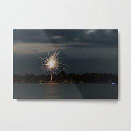 Fireworks Over Lake 30 Metal Print