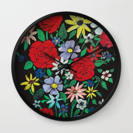 Five Red Roses Wall Clock