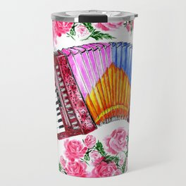Accordion with pink roses Travel Mug