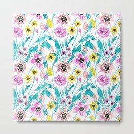 Artsy Summer Flowers Leaves Watercolor Pattern Metal Print