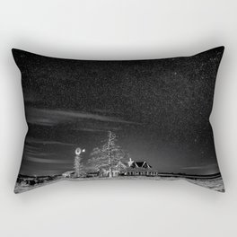 Neverwinter - Abandoned House Under Starry Night Sky in Black and White Rectangular Pillow