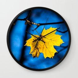 Yellow Mapple Leaf On Blue Wall Clock