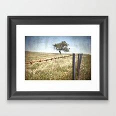 Tree Behind Fence Framed Art Print