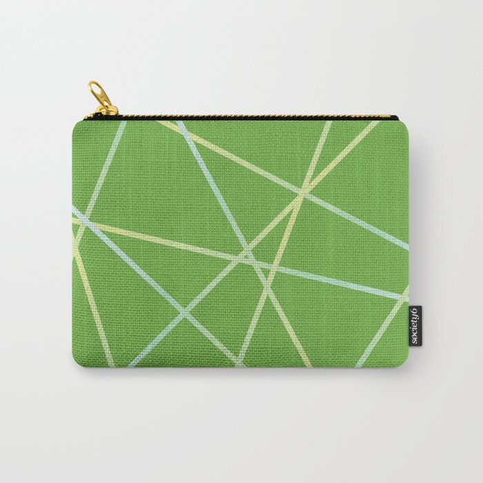 Lines 92 - lime and pale turquoise on greenery Carry-All Pouch