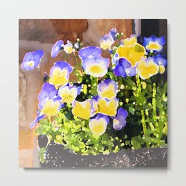 Blue and Yellow Pansies Metal Print