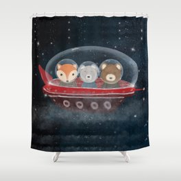 a little space adventure Shower Curtain