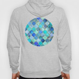 Cobalt Blue, Aqua & Gold Decorative Moroccan Tile Pattern Hoody