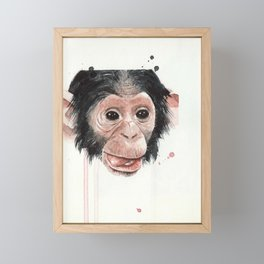 Baby monkey Framed Mini Art Print
