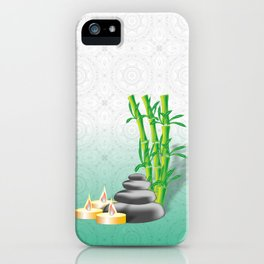 Meditation stones, bamboo and candles iPhone Case