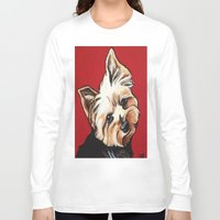 yorkie Long Sleeve T-shirts featuring Pet/Dog Portrait of Yorkshire Terrier/Yorkie on Red by Cheney Beshara