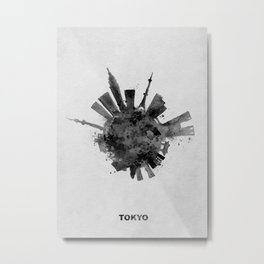 Tokyo Black and White Skyround / Skyline Watercolor Painting Metal Print