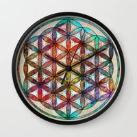 flower of life Wall Clocks featuring Flower of Life by Klara Acel