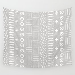 Funky African Mud Cloth in Grey Wall Tapestry