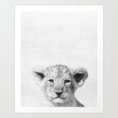 Baby lion Peekaboo print Art Print