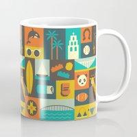san diego Mugs featuring San Diego  by Ariel Wilson