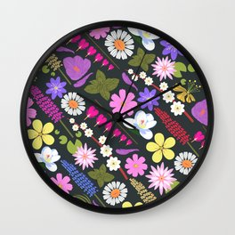 Flowers and mint Wall Clock