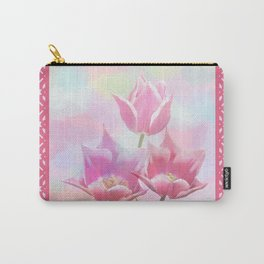 Painterly pastel spring with tulips Carry-All Pouch