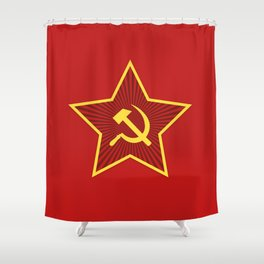 Red Star Hammer and Sickle Shower Curtain