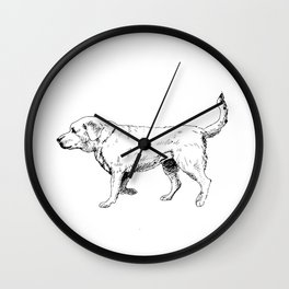 Labrador Retriever Ink Drawing Wall Clock