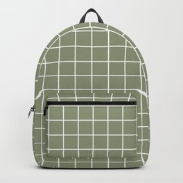 Artichoke - grey color - White Lines Grid Pattern Backpack