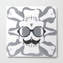 old funny skull art portrait in black and white Metal Print