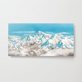 Watercolor Illustration of Mount Everest in the Himalayas among the clouds Metal Print
