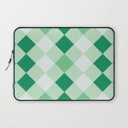 Shamrock Green Diagonal Plaid Pattern Laptop Sleeve