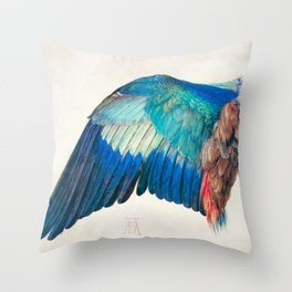 Wing of a Blue Roller by Albrecht Durer 1512 // Anatomy of a Birds Wing Wildlife Nature Decor Throw Pillow