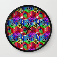 gamer Wall Clocks featuring Gamer by Ryan GoldLion