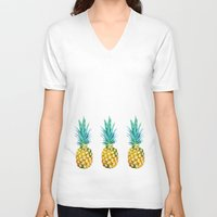 pineapples V-neck T-shirts featuring Pineapples by Yilan