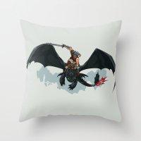 skyrim Throw Pillows featuring Riders of Skyrim  by Abby Trantina