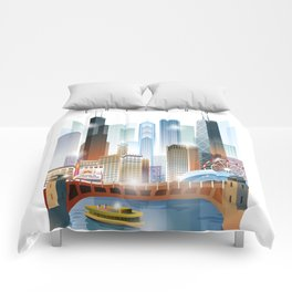 Chicago city skyline painting Comforters
