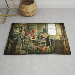 Garden Gnomes Playing Checkers Rug