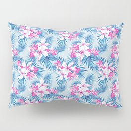 Tropical Explosion - Pink Hibiscus and Plumerias on Blue Palms Pillow Sham