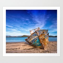 Washed up Boat Art Print