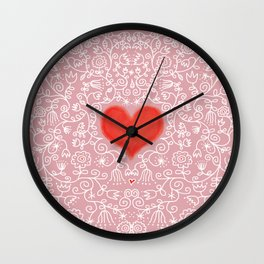 Lace Flower Pattern and Red Heart Pink Wall Clock