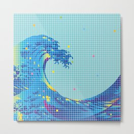 Great Wave in checked pattern_F Metal Print