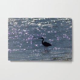 Egret Heron Silhouette Metal Print