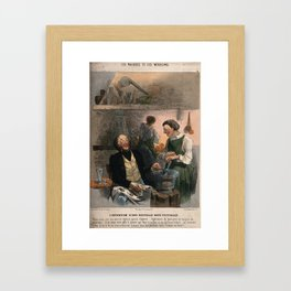 A cynical doctor describes the contents of his new cough mixture. Coloured lithograph by C. Jacque, Framed Art Print