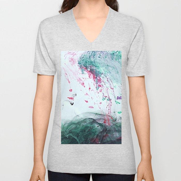 Raspberry Ocean Ink Fluid Unisex V-Neck