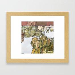 Boats in Folkestone Harbour Kent England Framed Art Print