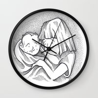 cuddle Wall Clocks featuring Cuddle by Mark Holden