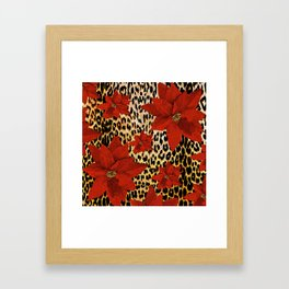 Animal Print Leopard and Red Poinsettia Framed Art Print