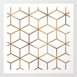 White and Gold - Geometric Cube Design Art Print