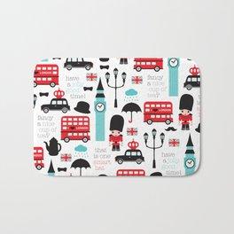 London icons illustration pattern print Bath Mat
