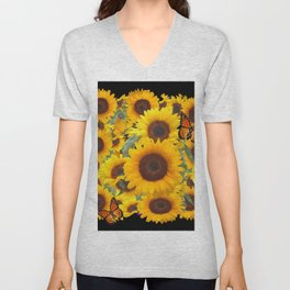 SUNFLOWER & MONARCHS IN BLACK ART Unisex V-Neck