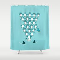 ilovedoodle Shower Curtains featuring Hang on by I Love Doodle