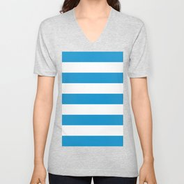 Cerulean Blue White Horizontal Stripes Unisex V-Neck